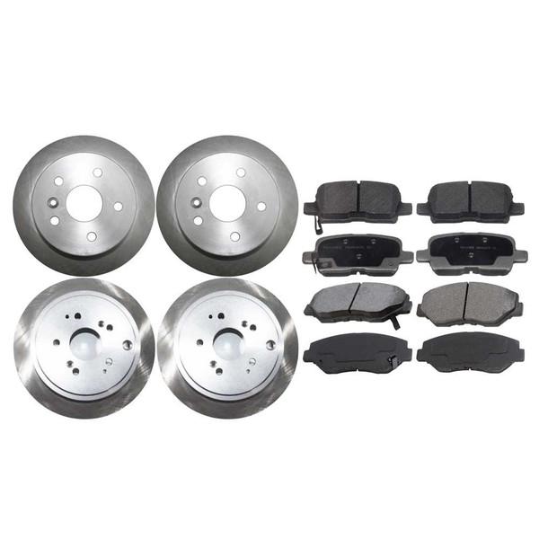 [Front & Rear Set] 4 Brake Rotors & 2 Sets Ceramic Brake Pads - Part # SCD9147522