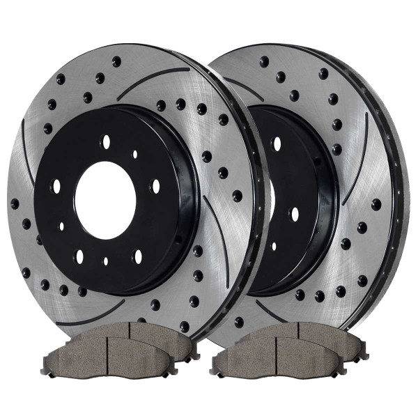 Front Ceramic Brake Pad and Performance Rotor Bundle 11.92 Inch Rotor Diameter 5 Stud Solid Rotors - Part # SCD921PR65084