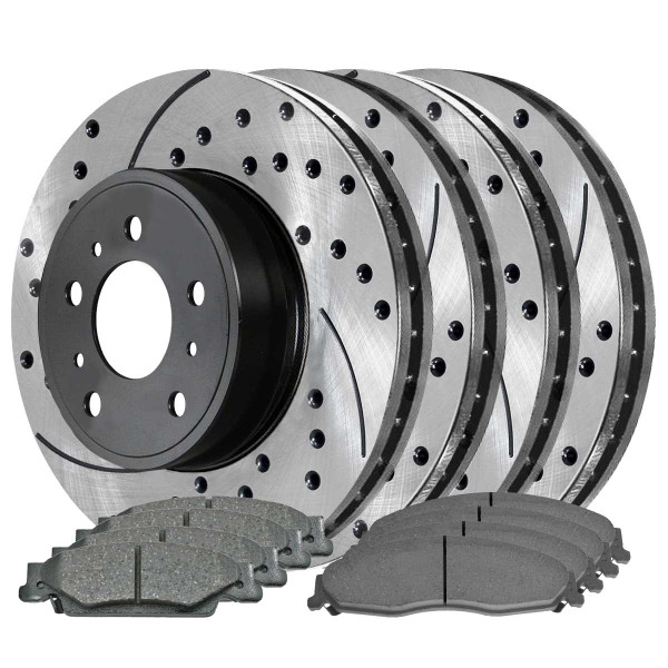 Front and Rear Ceramic Brake Pad and Performance Rotor Bundle 11.735 Inch Rear Rotor Diameter 5 Stud Solid Rotors 11.92 Inch Front Rotor Diameter - Part # SCD921PR65100