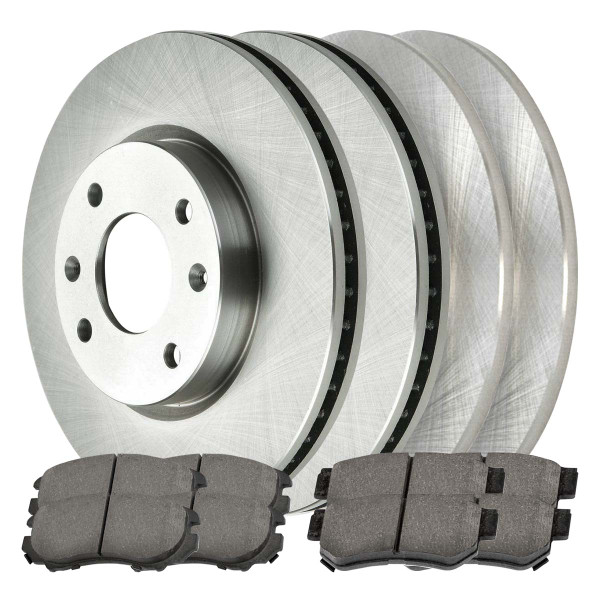 Front and Rear Ceramic Brake Pad and Rotor Bundle 4 Stud - Part # SCD9244735