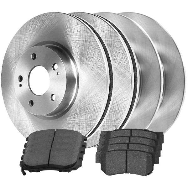[Front & Rear Set] 4 Brake Rotors & 2 Sets Ceramic Brake Pads - Part # SCD9245151