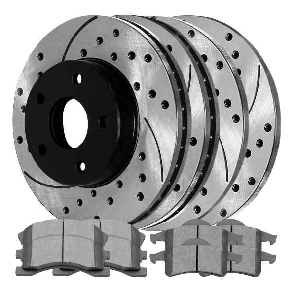 Front and Rear Ceramic Brake Pad and Performance Rotor Bundle - Part # SCD945-PR6120LR