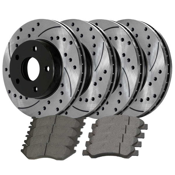 Front and Rear Ceramic Brake Pad and Performance Rotor Bundle 5 Stud - Part # SCD967PR63007