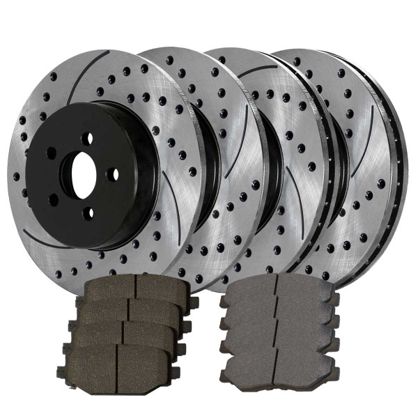 Front and Rear Ceramic Brake Pad and Performance Rotor Bundle - Part # SCD999PR65087