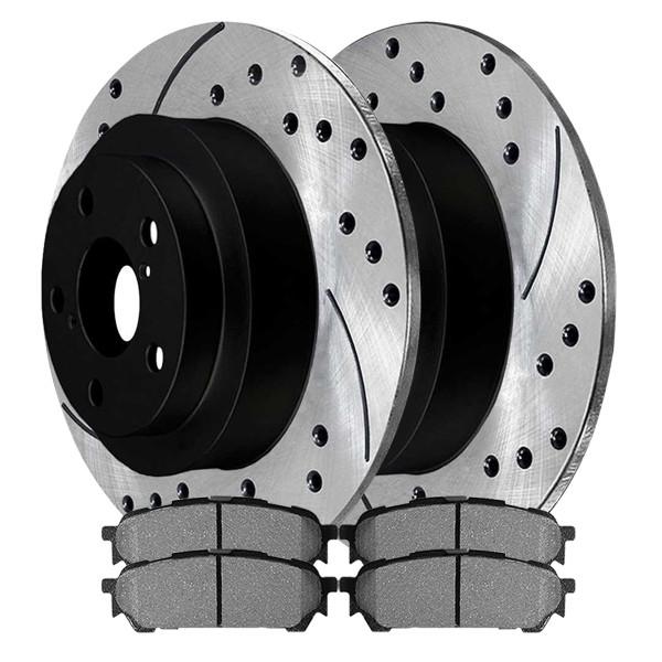 Performance Drilled and Slotted Rotors Pair + Ceramic Brake Pads Set - Part # SCDPR41045410451004