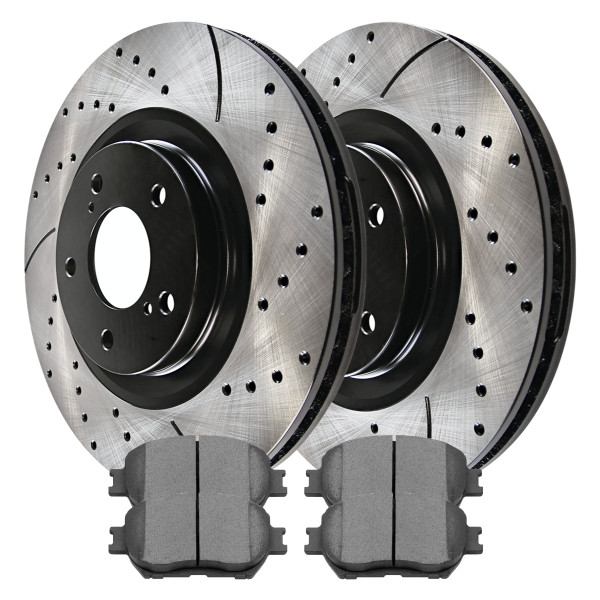 Front Ceramic Brake Pad and Performance Rotor Bundle 3.0L - Part # SCDPR4105241052908