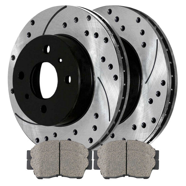 Front Ceramic Brake Pad and Performance Drilled and Slotted Rotor Bundle - Part # SCDPR4105841058562