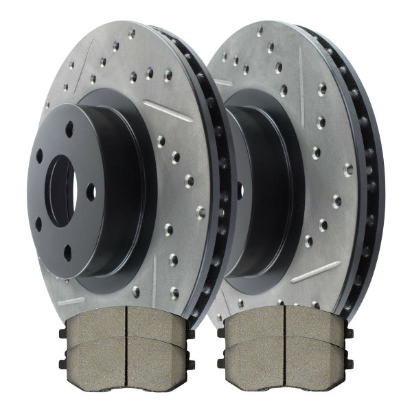 Front Ceramic Brake Pad and Performance Rotor Bundle - Part # SCDPR4106141061929