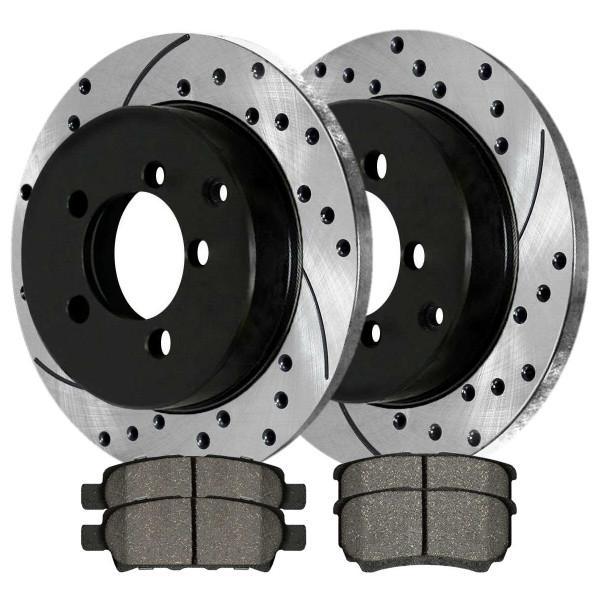 [Set] 2 Drilled & Slotted Performance Brake Rotors & 1 Set Ceramic Brake Pads - Part # SCDPR41149411491037