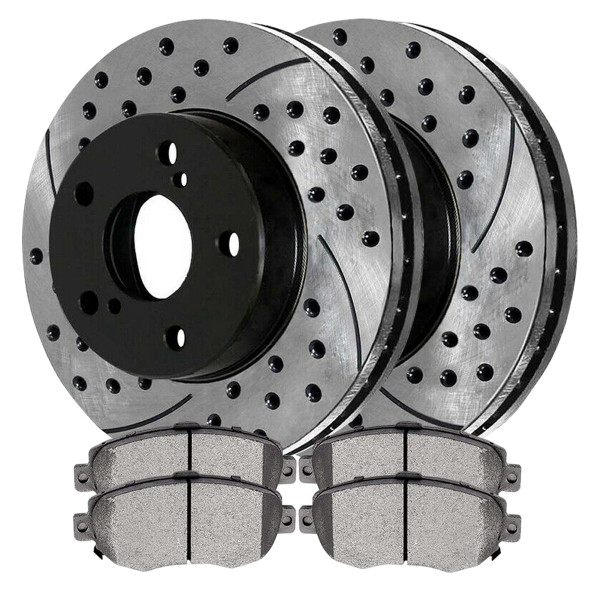 Front Ceramic Brake Pad and Performance Rotor Bundle - Part # SCDPR4117441174619
