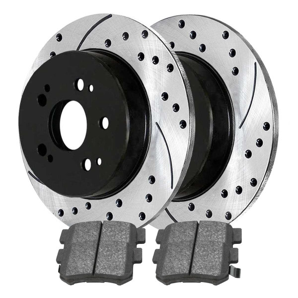 Rear Ceramic Brake Pad and Performance Rotor Bundle - Part # SCDPR4124741247537
