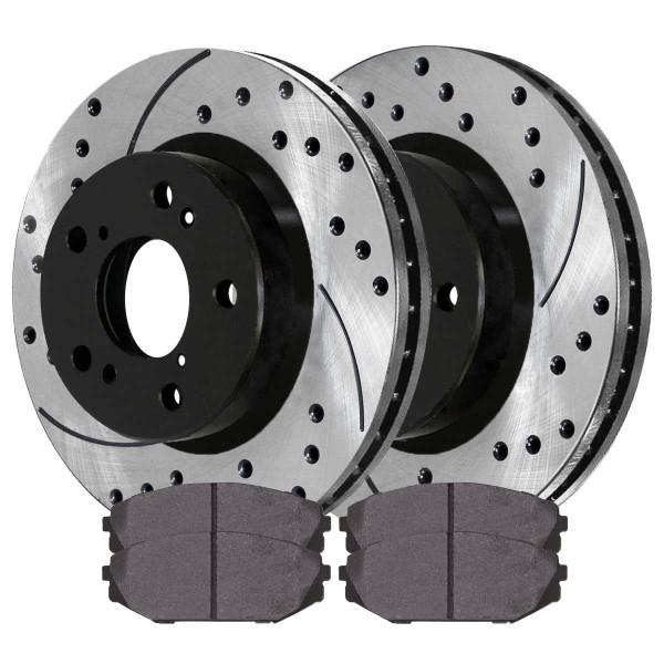 Front Ceramic Brake Pad and Performance Rotor Bundle - Part # SCDPR4127741277793