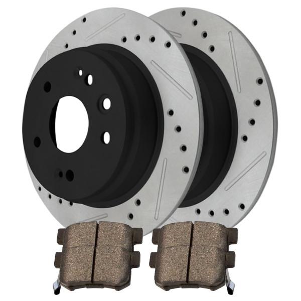 Rear Ceramic Brake Pad and Performance Rotor Bundle - Part # SCDPR4128841288536