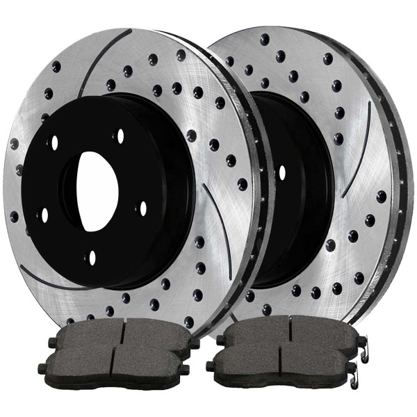 Front Ceramic Brake Pad and Performance Rotor Bundle - Part # SCDPR4130841308815A