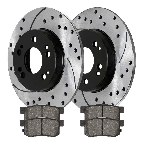 Rear Ceramic Brake Pad and Performance Rotor Bundle - Part # SCDPR4131741317537