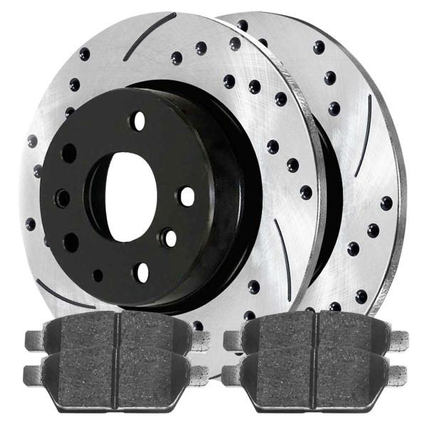 Rear Ceramic Brake Pad and Performance Rotor Bundle - Part # SCDPR41327413271161