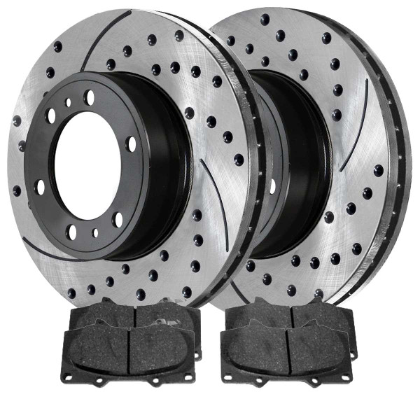 Front Ceramic Brake Pad and Performance Rotor Bundle 12.5 Inch Front Rotor Diameter 6 Stud - Part # SCDPR4132941329976