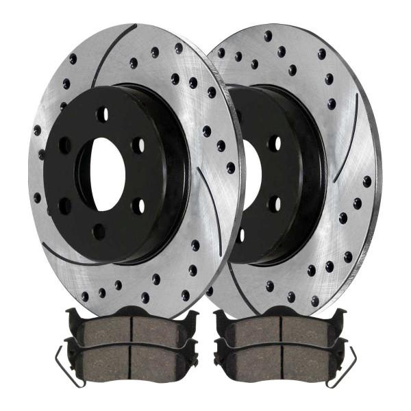 Rear Ceramic Brake Pad and Performance Rotor Bundle - Part # SCDPR41331413311041