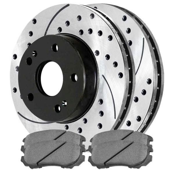 Front Ceramic Brake Pad and Performance Rotor Bundle 11.02 Inch Rotor Diameter 5 Stud - Part # SCDPR4133941339924