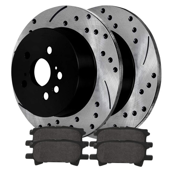Rear Ceramic Brake Pad and Performance Drilled and Slotted Rotor Bundle - Part # SCDPR4135841358996