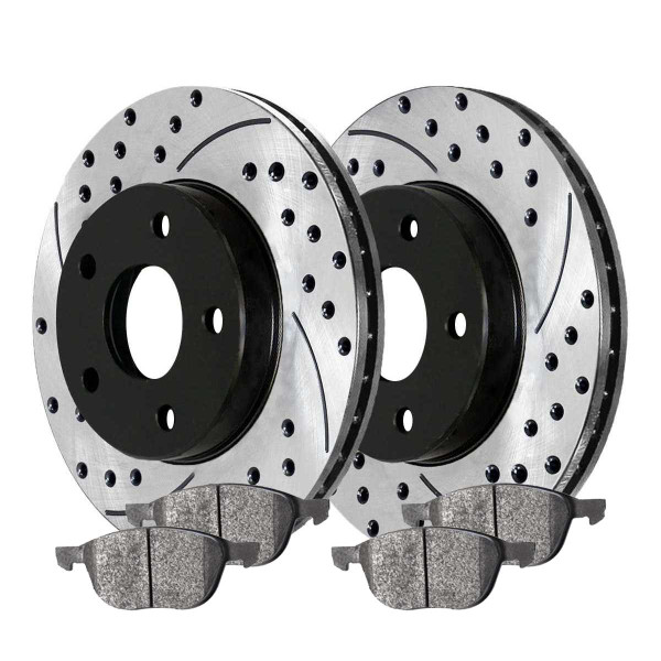 Front Ceramic Brake Pad and Performance Drilled and Slotted Rotor Bundle - Part # SCDPR41365413651044