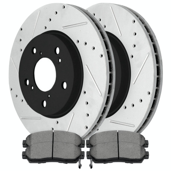Front Ceramic Brake Pad and Performance Drilled and Slotted Rotor Bundle - Part # SCDPR41370413701089