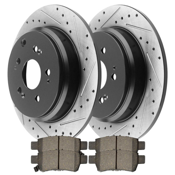 Performance Drilled and Slotted Rotors Pair + Ceramic Brake Pads Set - Part # SCDPR41371413711088