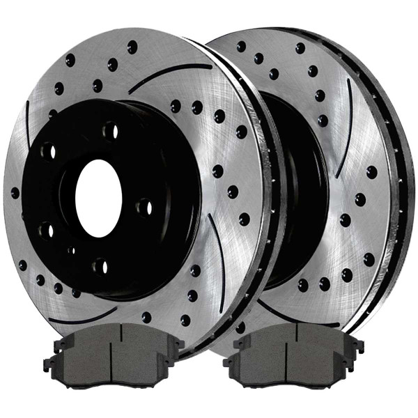 Front Ceramic Brake Pad and Performance Rotor Bundle - Part # SCDPR4137741377888A