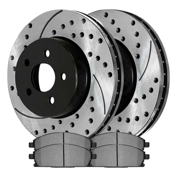 [Set] 2 Drilled & Slotted Performance Brake Rotors & 1 Set Ceramic Brake Pads - Part # SCDPR4139141391855A