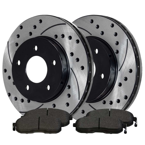 Front Ceramic Brake Pad and Performance Rotor Bundle - Part # SCDPR4146641466815