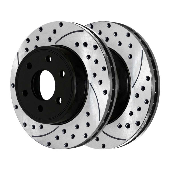Front Ceramic Brake Pad and Performance Drilled and Slotted Rotor Bundle - Part # SCDPR41508415081286