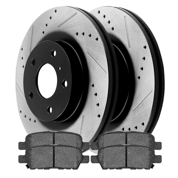 Performance Drilled and Slotted Rotors Pair + Ceramic Brake Pads Set - Part # SCDPR4153241532905