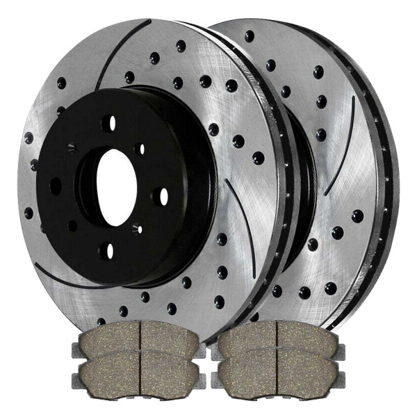 [Set] 2 Drilled & Slotted Performance Brake Rotors & 1 Set Ceramic Brake Pads - Part # SCDPR42974297465A