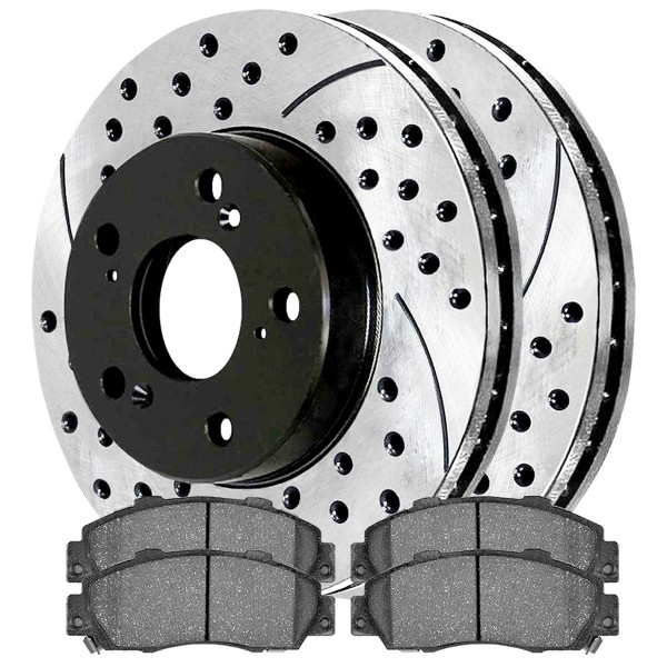 [Set] 2 Drilled & Slotted Performance Brake Rotors & 1 Set Ceramic Brake Pads - Part # SCDPR42984298503