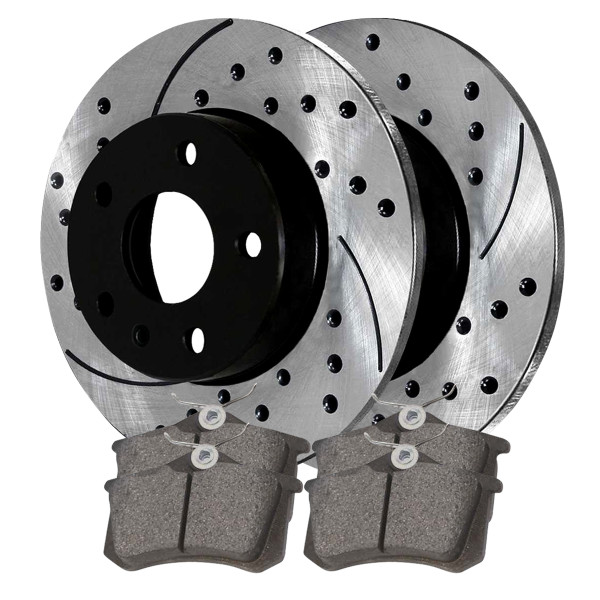 Rear Ceramic Brake Pad and Performance Rotor Bundle 232mm Rotor Diameter - Part # SCDPR4414644146340
