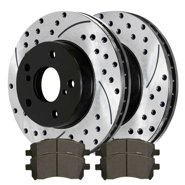 [Set] 2 Drilled & Slotted Performance Brake Rotors & 1 Set Ceramic Brake Pads - Part # SCDPR4420544205721