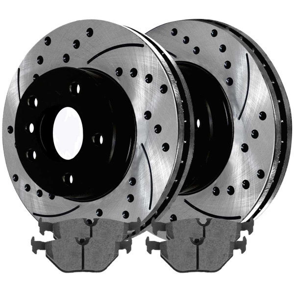 Rear Ceramic Brake Pad and Performance Drilled and Slotted Rotor Bundle - Part # SCDPR4422244222763
