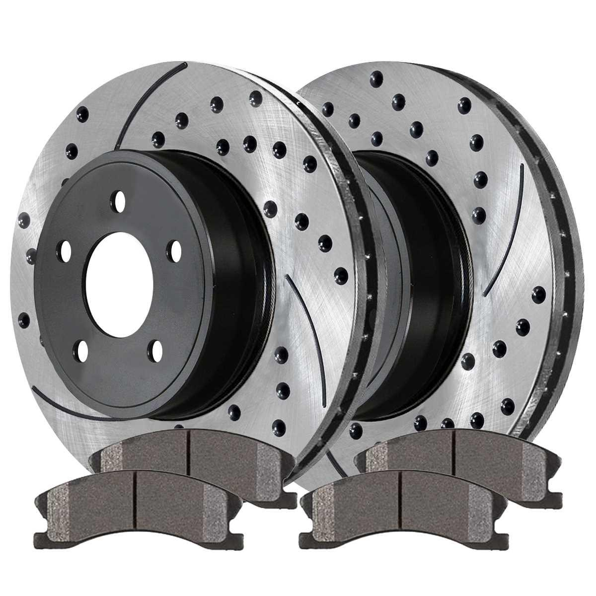 AutoShack PR41313PR41422 Set of 4 Front and Rear Drilled and Slotted Disc Brake Rotors Replacement for 2006 2007 2008 2009 2010 2011 Honda Civic