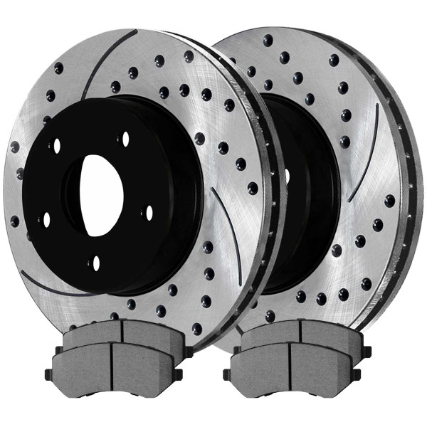 Front Ceramic Brake Pad and Performance Rotor Bundle - Part # SCDPR6300363003856A