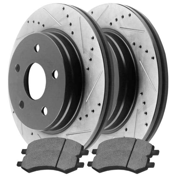 Front Ceramic Brake Pad and Performance Rotor Bundle 5 Stud - Part # SCDPR63007630071084