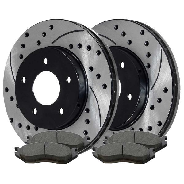 Front Ceramic Brake Pad and Performance Rotor Bundle - Part # SCDPR6300763007966