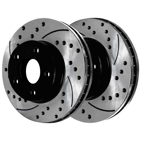 Rear Ceramic Brake Pad and Performance Drilled and Slotted Rotor Bundle - Part # SCDPR6300863008898