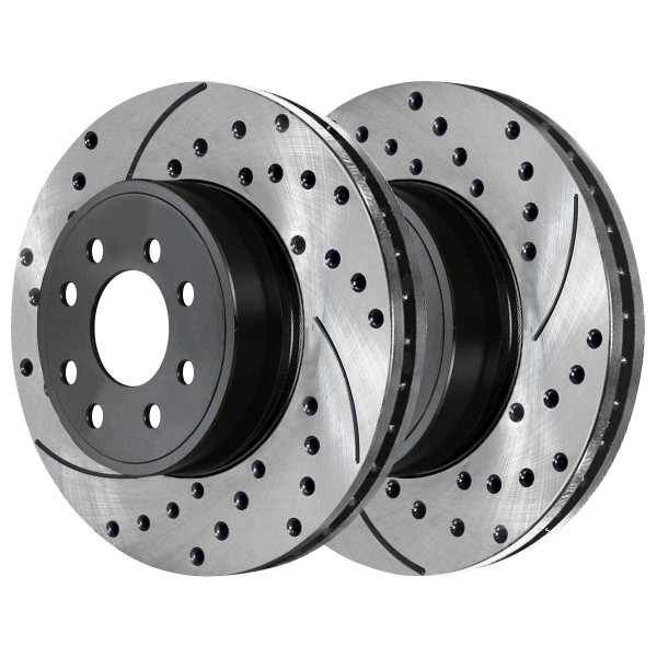 Rear Ceramic Brake Pad and Performance Drilled and Slotted Rotor Bundle 8 Stud - Part # SCDPR6301363013702A