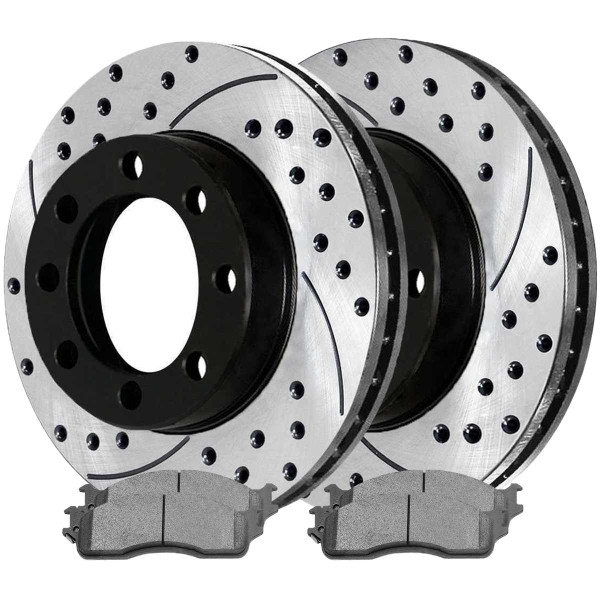Front Ceramic Brake Pad and Performance Rotor Bundle 8 Stud - Part # SCDPR6301463014965