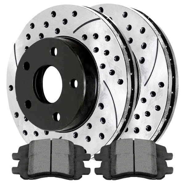 Front Ceramic Brake Pad and Performance Rotor Bundle - Part # SCDPR63040630401285