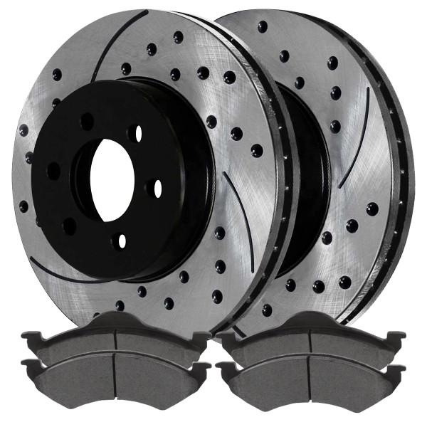 Front Ceramic Brake Pad and Performance Rotor Bundle - Part # SCDPR63846384820