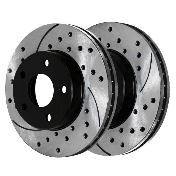 Front Ceramic Brake Pad and Performance Drilled and Slotted Rotor Bundle - Part # SCDPR6401364013804