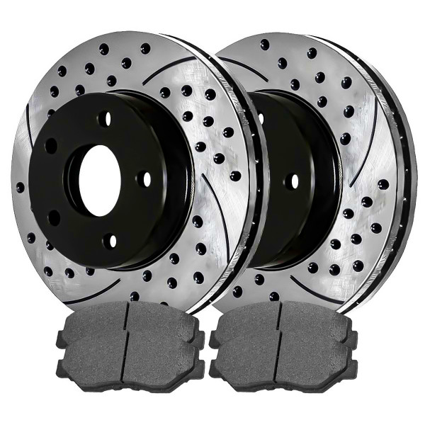 Front Ceramic Brake Pad and Performance Rotor Bundle - Part # SCDPR64016401866