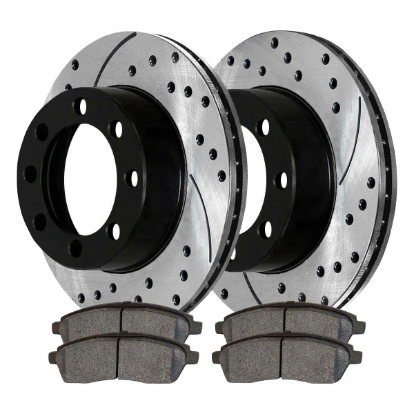 Rear Ceramic Brake Pad and Performance Rotor Bundle - Part # SCDPR6407664076757