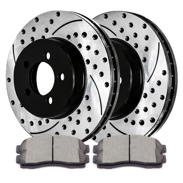 [Set] 2 Drilled & Slotted Performance Brake Rotors & 1 Set Ceramic Brake Pads - Part # SCDPR6409664096833